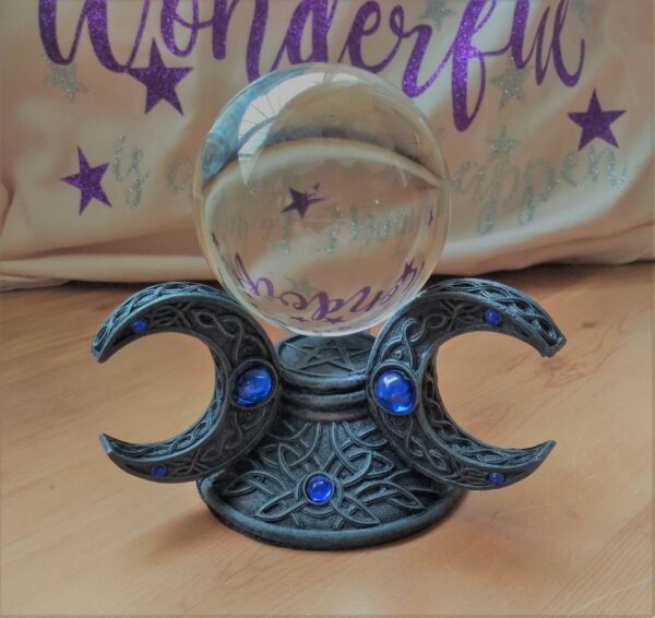 Crystal Ball in Triple Moon Holder - Nemesis Now