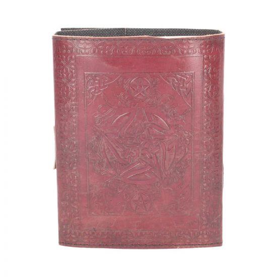 Lockable Pentagram Red Leather Journal 15 x 21cm Nemesis Now