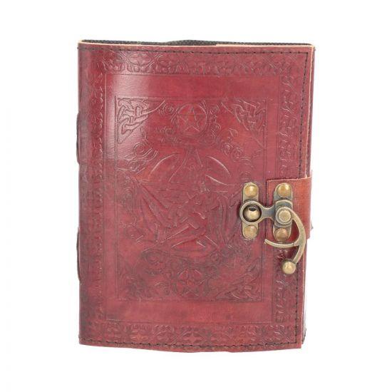 Lockable Pentagram Red Leather Journal 15 x 21cm