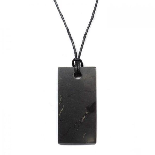 Shungite Rectangle Pendant Necklace - 4x2cm (Purification, Transmutation, EMF Protection)