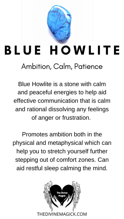 Blue Howlite Crystal Meaning Card