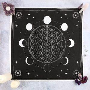 70x70cm Moon Phase Crystal Grid Altar Cloth