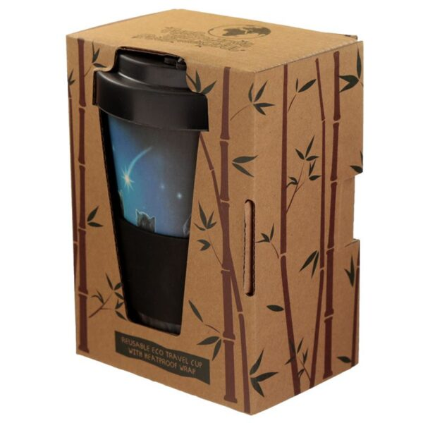 Black Cat Reusable Bamboo Travel Mug